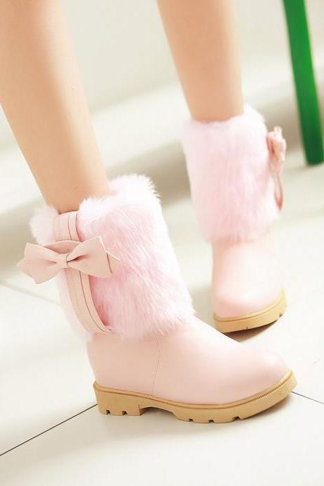 Bowtie Snow Boots Winter Platform Shoes Woman