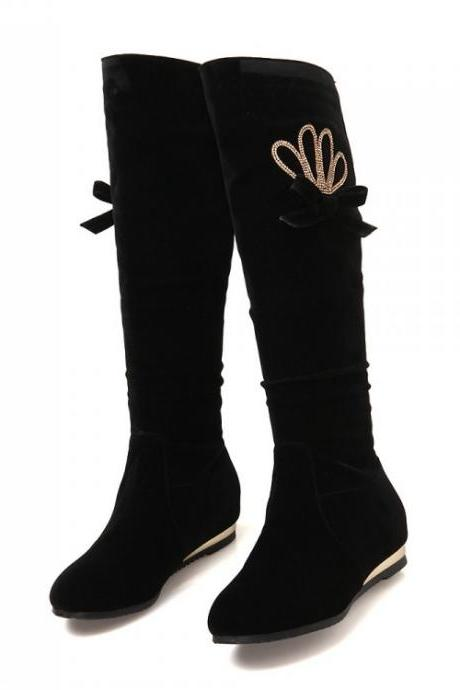 Black Rhinestone Wedges Knee High Boots Shoes Woman